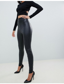 Asos Design Tall Spray On Leather Look Pants by Asos Design
