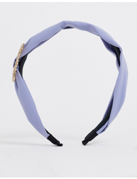 Boohoo Satin Head Band With Diamante Embellishment In Blue by Boohoo