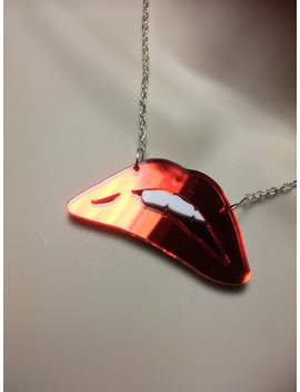 Rocky Horror Inspired Red Lips Acrylic Necklace by Etsy
