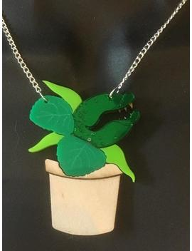 "Laser Cut Acrylic ""Audrey 2"" Necklace by Etsy"