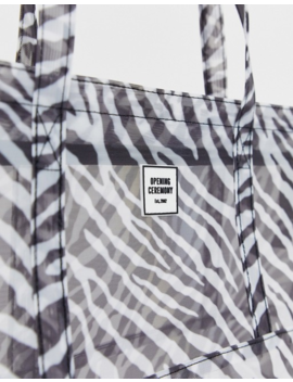 Opening Ceremony Zebra Mesh Small Chinatown Tote by Opening Ceremony