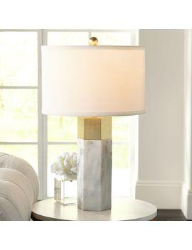 Possini Euro Design Modern Accent Table Lamp Marble Brass Hexagonal Column White Drum Shade For Living Room Family Bedroom Bedside by Possini Euro Design