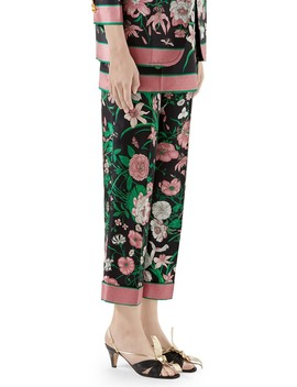 Flora Print Silk Twill Crop Pants by Gucci