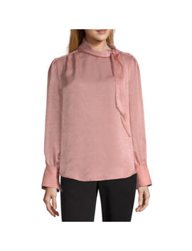 Worthington Womens High Neck Long Sleeve Bow Blouse by Worthington