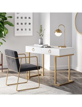 Leighton Prohibition Desk With Drawers, White And Gold Finish by Nathan James