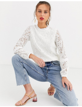 Oasis Lace Blouse In Cream by Oasis