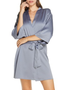 Victoria Satin Short Robe by Flora Nikrooz