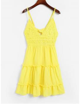 Knotted Back Crochet Panel Flared Cami Dress   Yellow L by Zaful