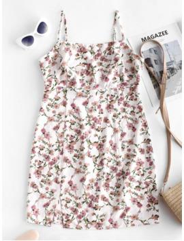 Zaful Slit Floral Mini Cami Tunic Dress   Milk White S by Zaful