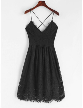 Hot Lace Criss Cross Cami Dress   Black S by Zaful