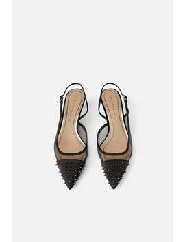 Studded Mesh Low  Heel Slingback Shoes View All Shoes Woman by Zara