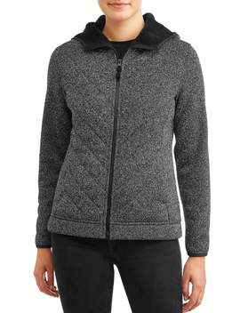 Time And Tru Women's Sweater Fleece Jacket With Sherpa by Time And Tru