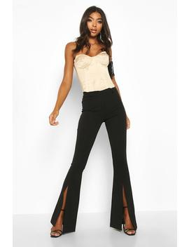 Tall Split Front Woven Flares by Boohoo