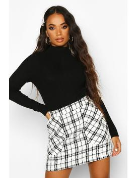 Petite Boucle Check Pocket Mini Skirt by Boohoo