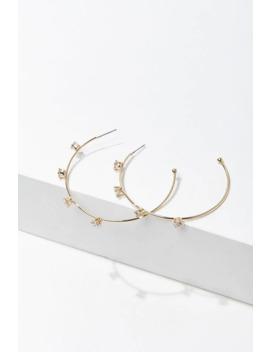 Cz Stone Hoop Earrings by Forever 21