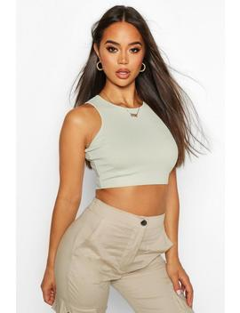 Rib Racer Front Crop by Boohoo