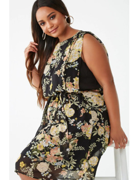 Plus Size Belted Floral Mini Dress by Forever 21