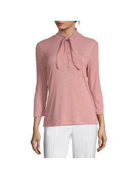 Worthington Womens V Neck 3/4 Sleeve Bow Blouse by Worthington