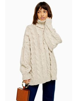 Oatmeal Chunky Knitted Cable Roll Neck Jumper by Topshop
