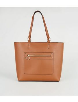 Tan Leather Look Tote Bag by New Look