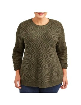 Women's Plus Size Crewneck Cable Sweater by Terra & Sky