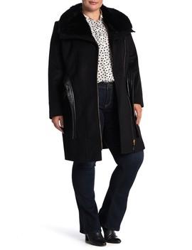 Kate Faux Fur & Faux Leather Trim Wool Blend Jacket (Plus Size) by Via Spiga