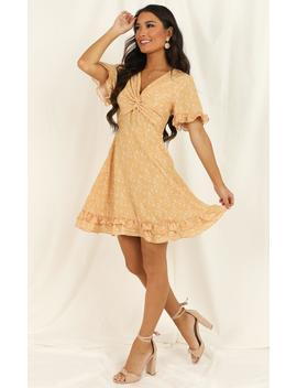 Golden Gaze Dress In Mustard Print by Showpo Fashion