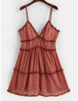 Hot Ruffle Trim Gingham Tiny Floral A Line Cami Dress   Rust L by Zaful