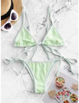 New Salezaful Textured Whip Stitch String Bikini Swimsuit   Mint Green M by Zaful