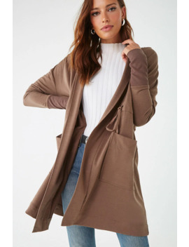 Hooded Drawstring Trench Coat by Forever 21
