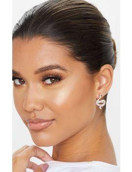 Gold Diamante Snake Stud Earrings  by Prettylittlething