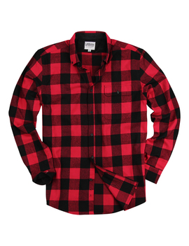 Men's Long Sleeve Flannel Shirt W/Button Down Collar (Red/Black, Large) by Urban Boundaries