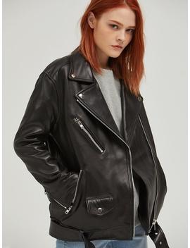 Premium Black Oversize Lambskin Jacket by Lookast