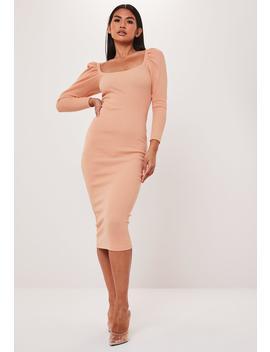 Peach Rib Puff Sleeve Midi Dress by Missguided