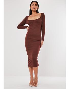 Chocolate Rib Bust Cup Bodycon Midi Dress by Missguided