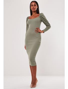 Khaki Rib Puff Sleeve Midi Dress by Missguided