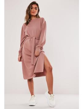 Rose Tie Waist Midi Sweater Dress by Missguided