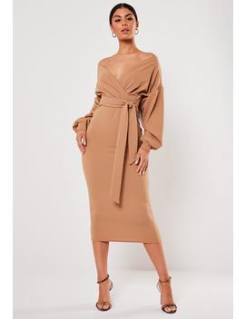 Camel Plunge Wrap Belted Midi Dress by Missguided