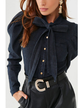 Denim Pussycat Bow Shirt by Forever 21