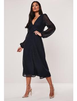 Navy Lace Button Through Midi Dress by Missguided