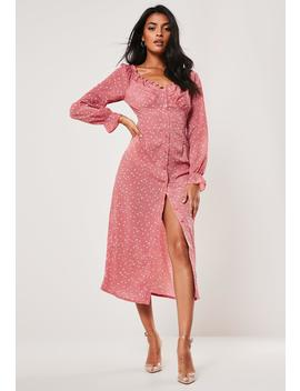 Pink Ditsy Floral Print Milkmaid Midi Dress by Missguided