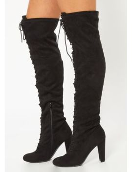 Black Lace Up Front Heeled Over The Knee Boots by Rue21