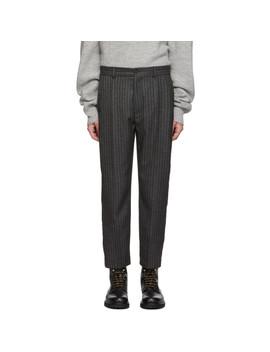 Grey Stripe Cut Trousers by Hope
