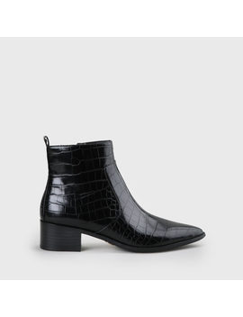 Fiona Ankle Zip Boot Crocodile Pattern Black by Buffalo