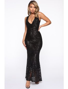 Shine All Night Sequin Mermaid Gown   Black by Fashion Nova