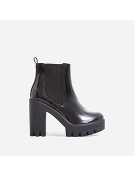 Liya Chunky Sole Ankle Chelsea Boot In Black Patent by Ego