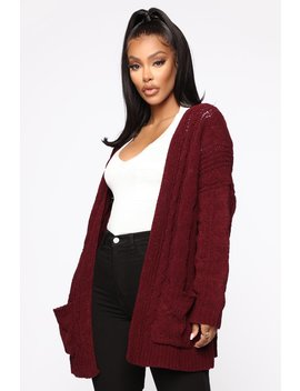 Trying To Get Over You Cardigan   Burgundy by Fashion Nova