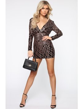 Party Line Sequin Mini Dress   Black/Rose Gold by Fashion Nova