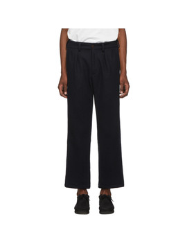 Navy Heavy Melton Wool Double Pleat Trousers by Paa