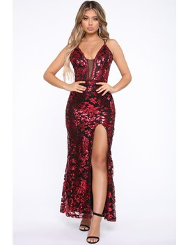 Game Changer Sequin Gown   Wine/Combo by Fashion Nova